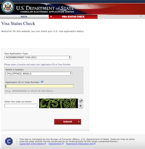 Visa Status Check (Interview Waiver Dropbox program)